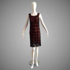 Vintage Black Wool Crochet Dress with Contrasting Orange Lining