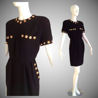 Vintage Alexander Moda Couture Italian Wool Crepe Dress with Chunky Gold Lion Head Coins