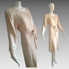 Vintage 80s White Silk Knit Sweater Dress with Opalescent Paillettes and Pleated Puff Shoulder