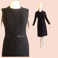 Vintage 1960s Black Wool and Genuine Snakeskin Dress and Cropped Jacket ~ Made in Italy