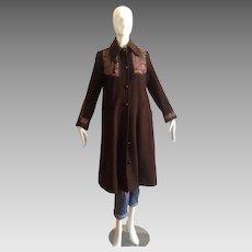 Vintage Koos Van Den Akker Quilted Applique Chocolate Brown Wool Coat ~ Patchwork Designer Swing Jacket