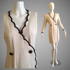 Rare Vintage ANDRE LAUG Pure Silk Designer Couture Dress ~ Cream with Navy Blue Scalloped Trim