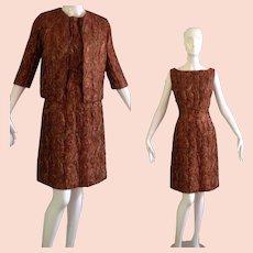 Vintage 60s Quilted Brocade Dress & Jacket Set ~ Copper Gold Embroidered Cocktail Mini Blazer Ensemble