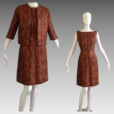 Vintage 60s Quilted Brocade Dress & Jacket Set ~ Copper Gold Embroidered Cocktail Mini Blazer Ensemble