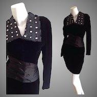 Vintage 60s Mod Black Velvet Mini Dress with Sequin Beaded Lapel Collar and Satin Kimono Bandeau Waist
