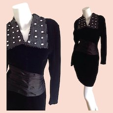 Vintage 60s Mod Black Velvet Mini Dress with Sequin Beaded Lapel Collar and Satin Kimono Bandeau Waist