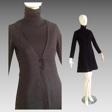 Vintage 60s Mod Knit Mini Dress with Ribbed Turtleneck and Flared Skirt