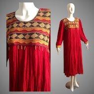 Vintage 70s Ethnic Indian Bohemian Cotton Caftan Maxi Dress with Beaded Bib