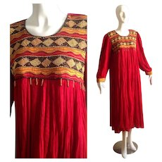 Vintage 70s Ethnic Indian Bohemian Cotton Caftan Maxi Dress with Beaded Bib
