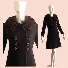 Vintage 60s Mod Black Wool Coat with Genuine Curly Lamb Fur Collar