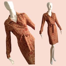 Vintage 1970s Jersey Wrap Dress ~ Made in Italy Floral Print Midi Shirtdress