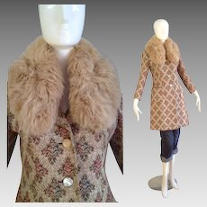 Vintage 50s Tapestry Coat with Genuine Fur Collar ~ Retro Fit Carpet Jacket