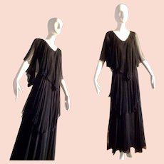 Vintage 70s French Fluttery SILK Chiffon Tiered Dress Bohemian Maxi ~ Long Sheer Boho Hippie Gown by Ann Marks Paris ~ Full Length