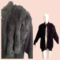 image 0 image 1 image 2 image 3 image 4 Vintage Black Angora and Genuine FUR Sweater Coat with Sequin Fringe ~ Oversize Cardigan