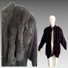 image 0 image 1 image 2 image 3 image 4 Vintage Black Angora and Genuine FUR Sweater Coat with Sequin Fringe ~ Oversize Cardigan
