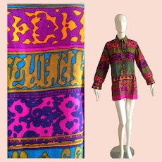 Vintage Psychedelic Print Knit Top ~ Shirt by Kay Silver
