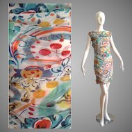 Vintage Alberta Ferretti Sheer Silk Dress with Ruched Pleated Seams ~ Made in Italy