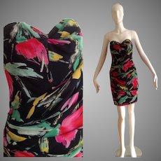 Vintage Emanuel Ungaro Parallele Paris Silk Floral Strapless Dress