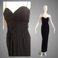 Vintage Georges Rech Paris Black Jersey Sweetheart Formal Gown with Spaghetti Straps ~ Maxi Dress