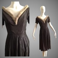 Vintage 1950s Formal Party Dress with Genuine Mink Fur Trim ~ Steel Grey Taffeta Retro Gown