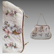Vintage Hand Beaded Floral Motif Purse ~ Cute 50s Formal Evening Bag ~ Party Clutch ~ Made in France