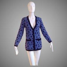 Vintage GIVENCHY Polka Dot Sweater ~ Long Wool Cardigan