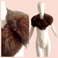 Vintage 1970s Lush Silver Tipped Arctic Fox Fur Collar ~ Thick Warm Winter Shawl Bib in Brown ~ Natural Wrap Stole