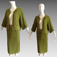 Vintage 50s Hand Crochet Sweater and Skirt Ensemble ~ Cropped Cardigan with Retro Pencil Skirt