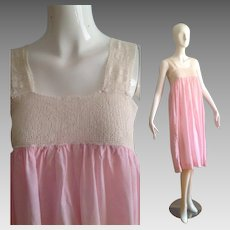 Vintage 1920s 30s Cotton and Lace Lingerie Dress ~ Sheer Light Pink Night Gown