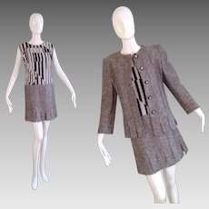 Vintage Black and White Tweed Carwash Fringe Blazer Dress Set ~ Power Suit