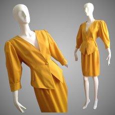 Vintage Emanuel Ungaro Blazer Skirt  Ensemble ~ Pinstripe Power Suit ~Modern Sculptural Jacket / Dress Skirt