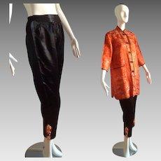 Vintage Chinese Pajamas ~ Red Satin Brocade Cheongsam Jacket ~ Black Pleated Pants