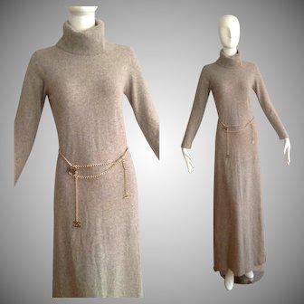 Vintage PORTS International Pure CASHMERE Turtleneck Dress ~ Grey Knit Floor Length Sweater Maxi