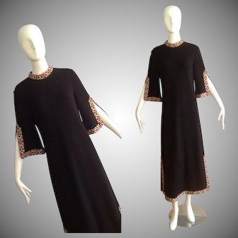 Vintage 70s Black Knit Dress with Ethnic Trim ~ Pure Wool Long Bohemian Maxi