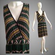 Vintage MISSONI Striped Knit Sleeveless Dress with Drop Waist Skirt