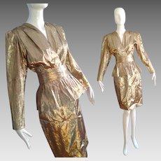 Vintage 1980s Metallic Liquid Gold Blouse and Skirt & Belt Ensemble ~  Suit Set by Anne Klein