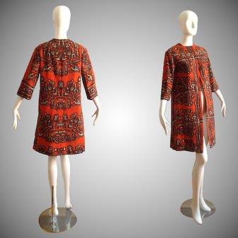 Vintage 50s INSANE Over Coat ~ Ethnic Tribal Themed Day Jacket ~ Retro Duster Jacket