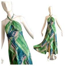 Vintage 1970s Boho Hippie Jersey Knit Halter Maxi Dress  Keyhole Bohemian Gown
