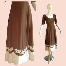 Vintage Roger Freres Brown & White Maxi Dress ~ Heavy Beaded Sequin Encrusted Hem ~ Party Gown