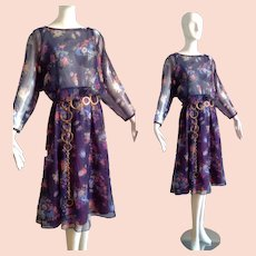 Vintage 70s Sheer Floral Dress with a  Light Gauzy Circle Skirt