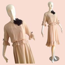 Vintage 1970s Jerry Silverman Chiffon Dress ~ Sheer Boho Ruffle Trim Midi