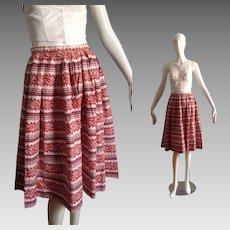 Vintage 50s Paisley Print Cotton Pleated Circle Skirt