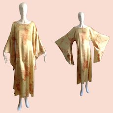 Vintage 70s Silk Floral Print Caftan With Giant Angel Sleeves ~ Bohemian Goddess Kimono Maxi