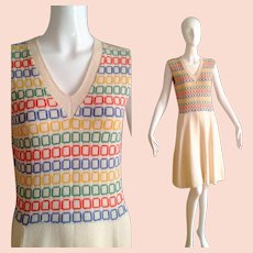 Vintage Cream Knit Sweater Dress with Rainbow Square Print