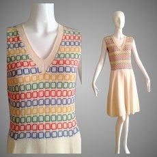 Vintage Cream Knit Sweater Dress with Rainbow Square Print