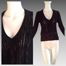 Vintage CHRISTIAN LACROIX Sequin Fringe Sweater ~ Black Beaded V Neck Designer Knit Top