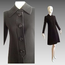 Vintage Ted Lapidus Black Wool and Satin Trim Coat ~ Made in Paris Designer Overcoat