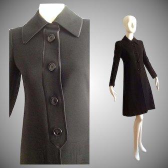 Vintage Ted Lapidus Black Wool and Satin Trim Coat ~ Made in Paris Designer Overcoat
