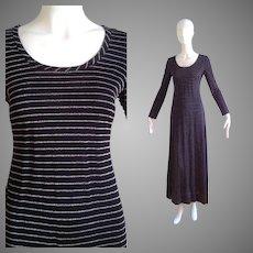 Vintage 70s John Marks London for Anne Tyrrell Black & Silver Lurex Stripe  Maxi  Dress