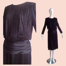 Vintage 70s Black Jersey Bohemian FRINGE Party Dress